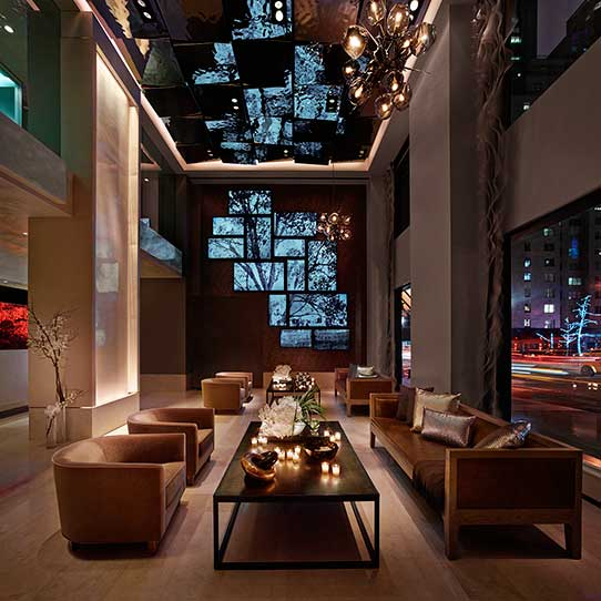 The Quin Hotel in New York City, Rasterdecke in der Lobby, Unikatserie EXYD-M, Foto The Quin Hotel